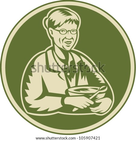 Illustration of an old senior mature woman granny grandmother cooking with mixing bowl facing front done in retro woodcut style set inside circle. - stock vector