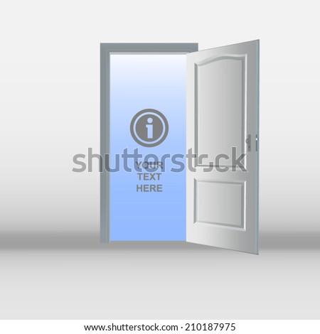 Illustration of an open white door - place your own text or image inside it. - stock vector