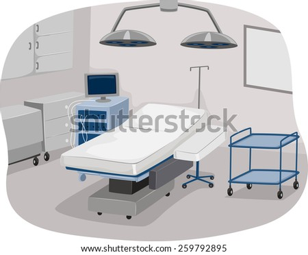 Illustration of an Operating Room Complete with Operating Table and Surgical Equipment - stock vector