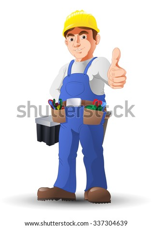 illustration of an optimistic handy man construction worker thumb-up - stock vector
