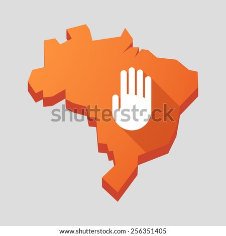 Illustration of an orange  Brazil map with a hand - stock vector