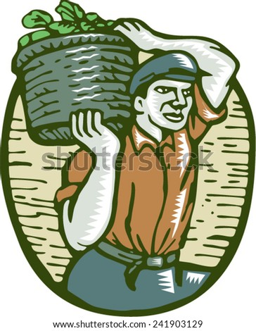 Illustration of an organic farmer carrying basket of harvest crop of vegetables on shoulder done in retro woodcut linocut style.  - stock vector