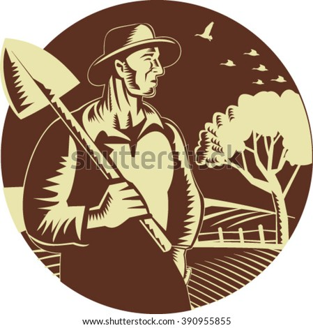 Illustration of an organic farmer holding shovel on shoulder looking to the side set inside circle with farm orchard in the background done in retro woodcut style. - stock vector