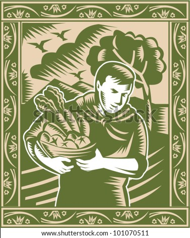 Illustration of an organic farmer with basket full of fruits and vegetables done in retro woodcut style. - stock vector