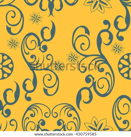 Illustration of an ornament vintage seamless vector on a yellow background. Floral pattern. - stock vector