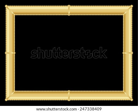 illustration of an ornate golden frame with room for text on black background, vector image, eps10 - stock vector