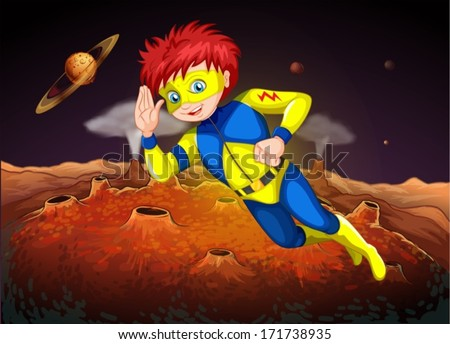 Illustration of an outerspace with a superhero - stock vector