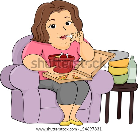 Illustration of an Overweight Girl Eating Pizza and Chicken - stock vector