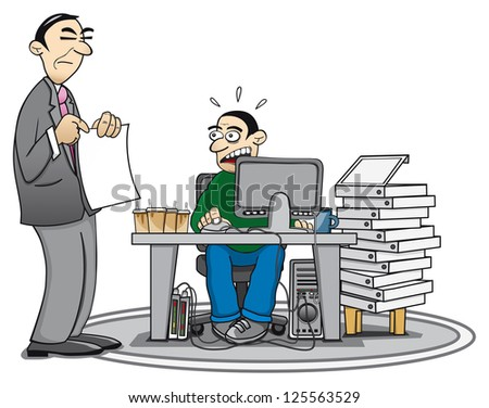 Illustration of an overworked employee and his supervisor who is pointing at a document.