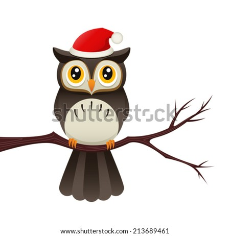 Illustration of an owl on a branch wearing a santa hat. Eps 8 Vector. - stock vector