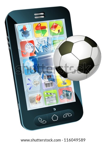 Illustration of an soccer ball flying out of cell phone screen - stock vector