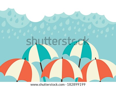 Illustration of an umbrellas and rain clouds - stock vector