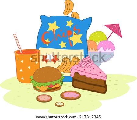 illustration of an unhealthy diet - stock vector