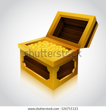 Illustration of an wooden treasure chest. Full variant