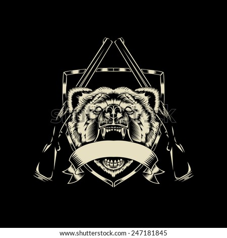 Illustration of angry bear head with weapons. Black and white style. - stock vector