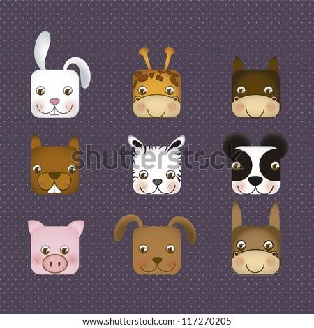 Illustration of animal icons illustration of giraffe, rabbit, squirrel, horse, mule, panda, tiger, pig, dog. vector illustration - stock vector