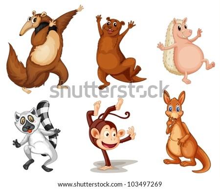 Illustration of animals on white - stock vector