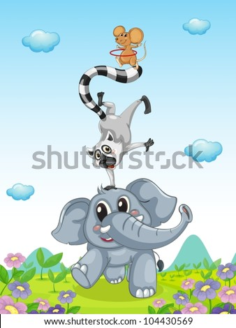 Illustration of animals performing an act - stock vector