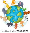 Illustration of Animals Walking Around a Globe - stock vector