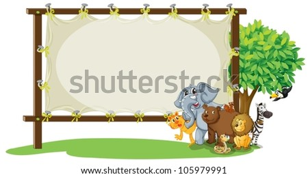 illustration of animals with board on white - stock vector