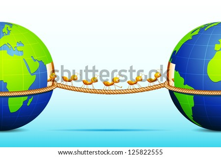 illustration of ant connecting two world walking on rope - stock vector