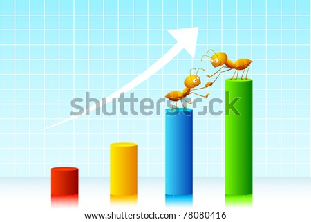 illustration of ant rising on bar graph on abstract background - stock vector