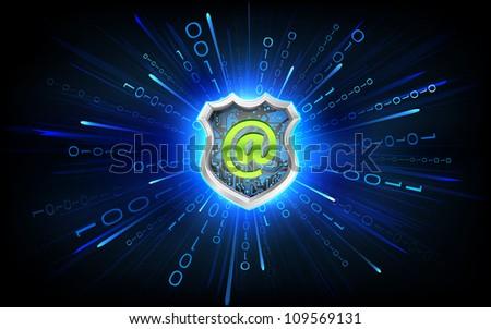 illustration of antivirus shield on virtual binary background - stock vector