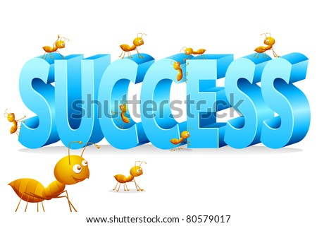 illustration of ants climbing on word success - stock vector
