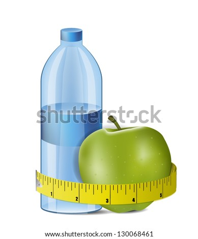 Illustration of Apple With Measuring Tape and Fresh Bottle of Water - stock vector