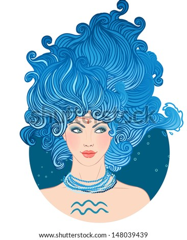 Illustration of Aquarius astrological sign as a beautiful girl. Vector art isolated on white.  - stock vector