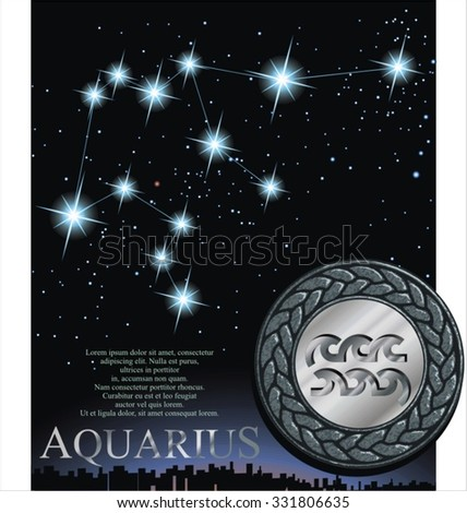 Illustration of Aquarius zodiac sign. Water bringer zodiac poster.