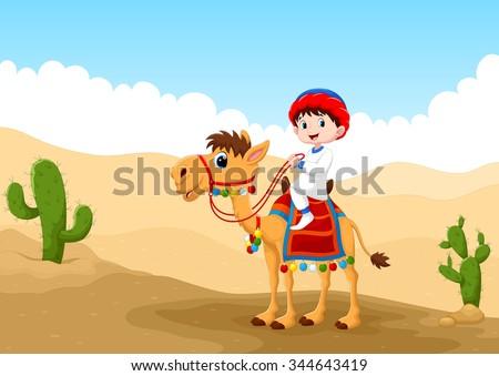 Illustration of Arab boy riding a camel in the desert - stock vector