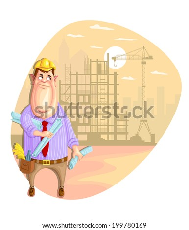 illustration of architect on construction site in vector - stock vector