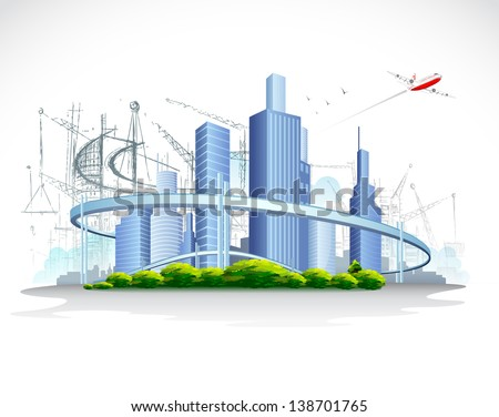 illustration of architectural building with flying airplane - stock vector