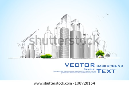 illustration of architectural building with sketch