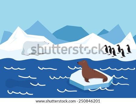 illustration of Arctic animals, penguin, polar bear and seal - stock vector