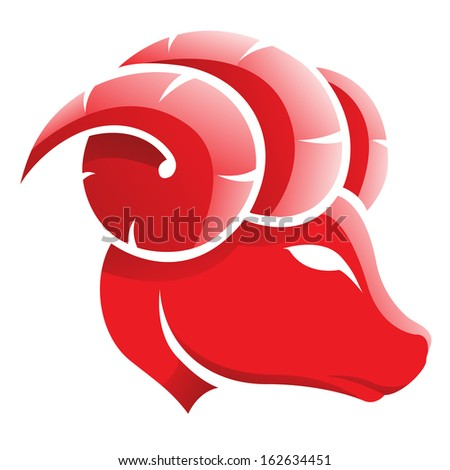 Illustration of Aries Zodiac Star Sign isolated on a white background - stock vector