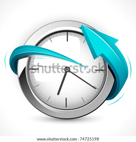illustration of arrow around clock on abstract background - stock vector
