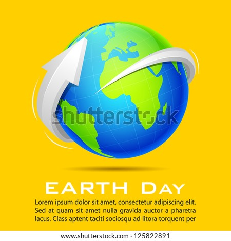 illustration of arrow around earth on abstract background
