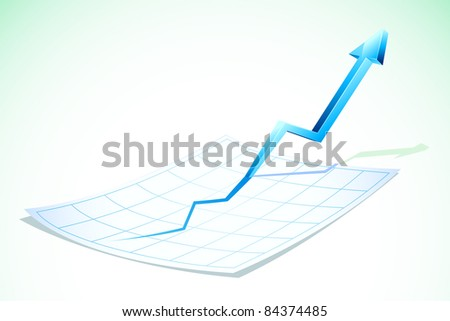 illustration of arrow going upward popping out of chart paper - stock vector
