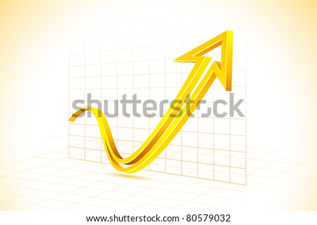 illustration of arrow on graph in abstract background - stock vector
