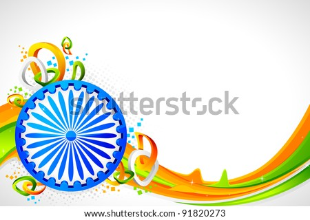 illustration of Ashok wheel on abstract tricolor Indian flag background - stock vector