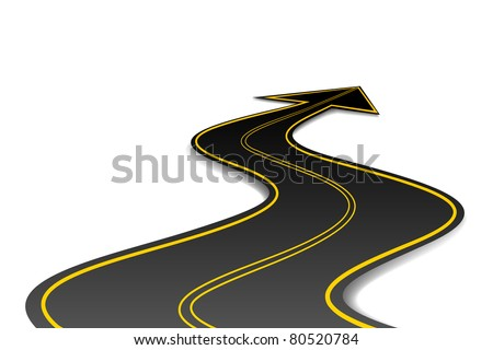 illustration of asphalt road in shape of arrow - stock vector