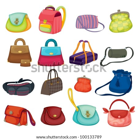 Illustration of assortment of bags - stock vector