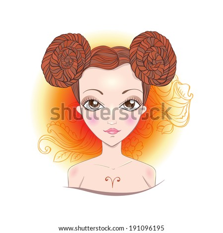 Illustration of astrological sign of Aries. Beautiful fantasy girl. - stock vector
