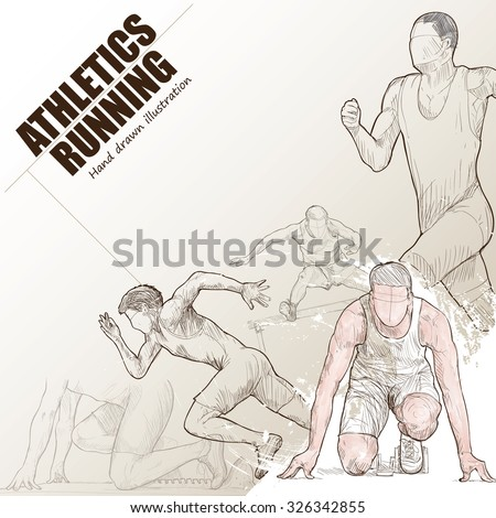 Illustration of athlete running. hand drawn. athlete running poster. Sport background. - stock vector