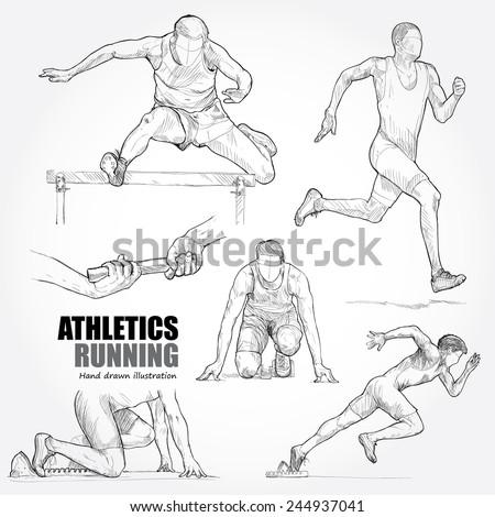 Illustration of Athletics. Hand drawn. - stock vector