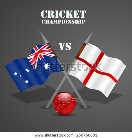 Illustration of Australia and England Flag for Cricket background - stock vector