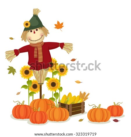 Illustration of autumn harvesting with cute scarecrow and pumpkins