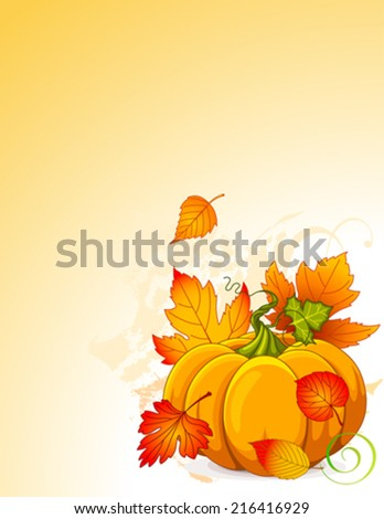 Illustration of Autumn Pumpkin and leaves background - stock vector